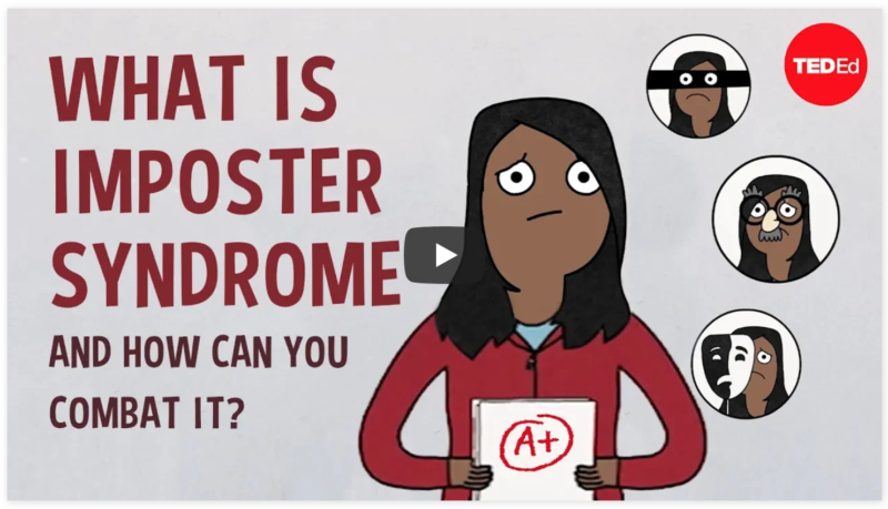 "Screenshot of YouTube Video titled, ""What is imposter syndrome and how can you combat it? by Elizabeth Cox,"""