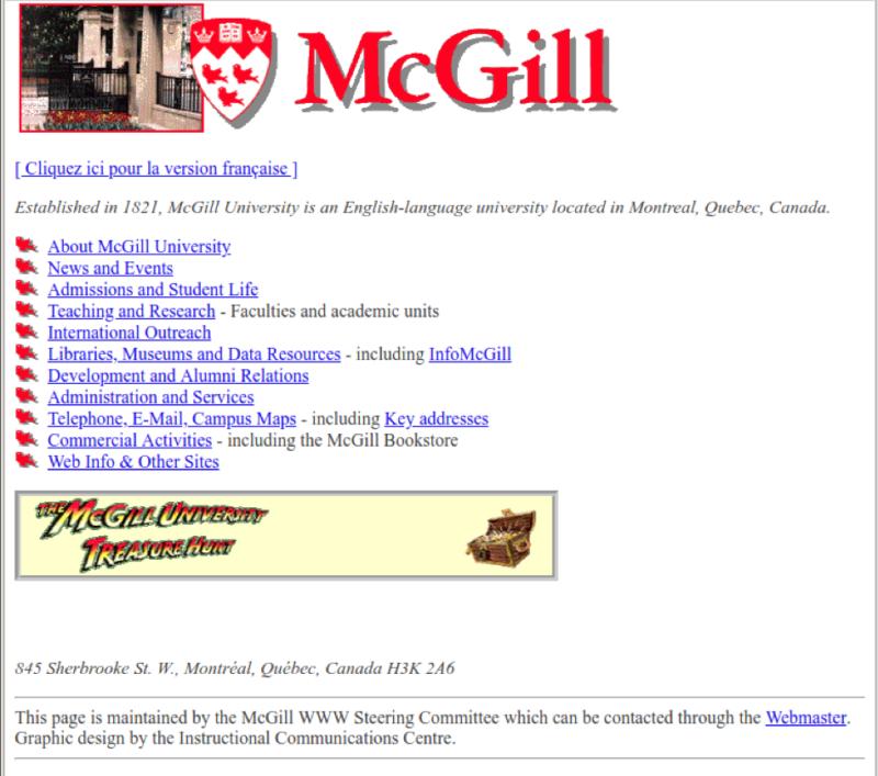 McGill's homepage, 1997