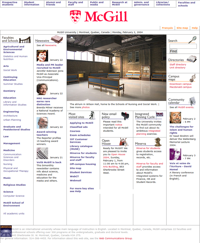 McGill Homepage 2004