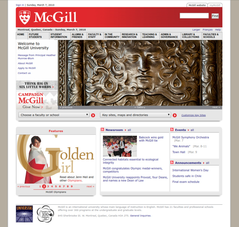 McGill Homepage 2010