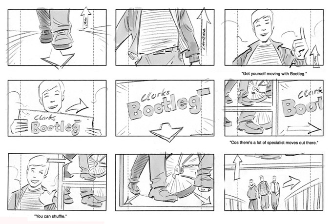 Storyboard showing a young man getting new shoes